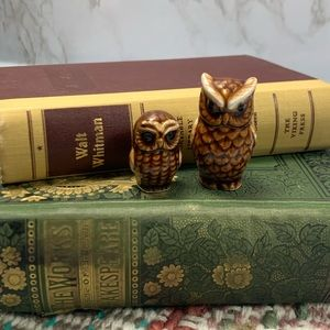 Vintage made in Japan mom baby owl set ceramic